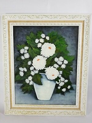 Framed Painting of A Pot of White Mums Signed Oil on Canvas Floral Still Life