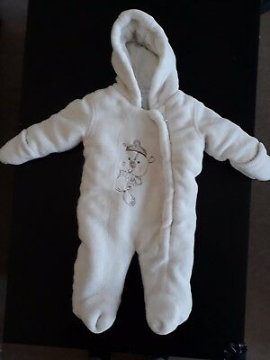 baby winter white all in one coat size 0-3 months. pre owned