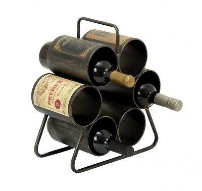 Plutus Brands 6Bottle Wine Rack with Space Saving Design. Brand New
