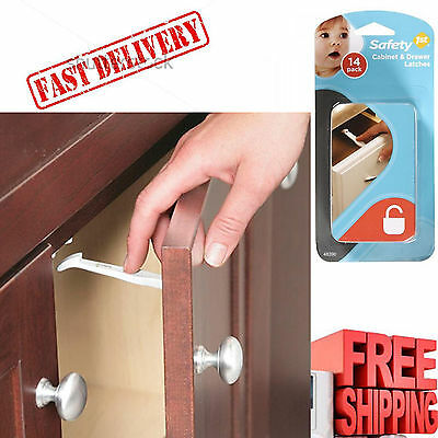 Child Safety Cabinet Locks Baby 14 Pack Wide Grip Latches Kids Proof Door Drawer