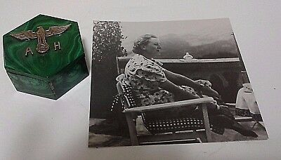 Eva Braun  Photo, Hitler's Wife, With  Wine Bottle Coaster Used By Her Signed