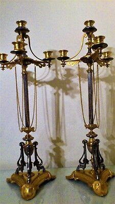 Pair of 19th Century French Ormolu Bronze and Silvered Metal Candelabra.