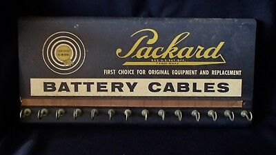 Vintage Packard Car Battery Cables Metal Advertising Sign Store Garage Display