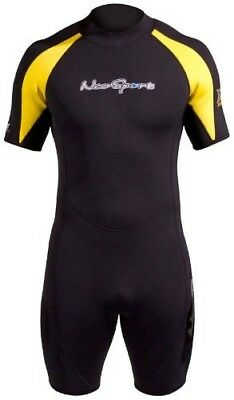 (Large, Black with Yellow Trim) - NeoSport Men's 3-mm XSPAN Shorty. Best Price