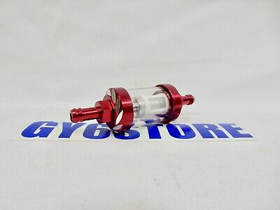 "*RED* FUEL FILTER HIGH PERFORMANCE FOR 50cc 150cc SCOOTERS ATVS KARTS (1/4"")"