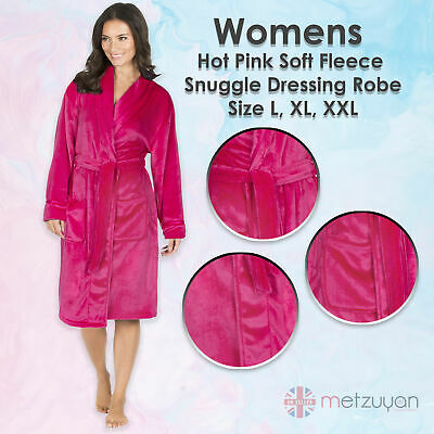 Ladies Womens Hot Pink Soft Fleece Snuggle Dressing Robe Gown With Shawl Collar