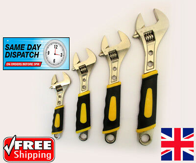"""NEW 4 PIECE HEAVY DUTY ADJUSTABLE SPANNER WRENCH SET SPANNERS 6"""" 8"""" 10"""" 12"""" inch"""