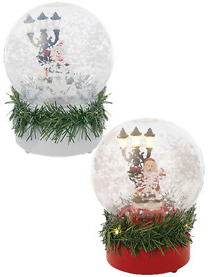 "8"" Musical LED Snow Globe Santa Snowman Christmas Decoration Light Up Kids Gift"