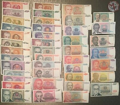 Yugoslavia Complete inflation lot 42 different Banknotes 1990 - 1994 VF/XF