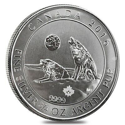 2016 3/4 oz Canadian Silver Howling Wolves $2 Coin .9999 Fine Cull