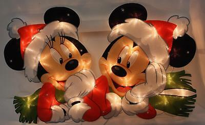 """PAIR of DISNEY Mickey & Minnie Mouse Lighted Christmas Window Decoration 19"""""""