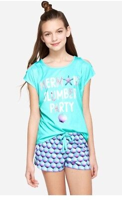 NWT JUSTICE Girl's 'Mermaid Slumber Party' Sleep Set Size 10