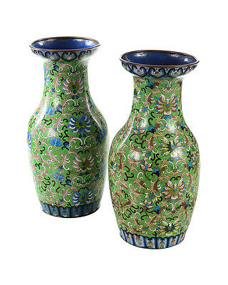 "Pair of Antique 18"" Chinese Green Vases - Cloisonné"
