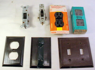 Lot 7 Vintage Sierra Electric Brown Bakelite Ribbed Switch Outlet Plate Covers