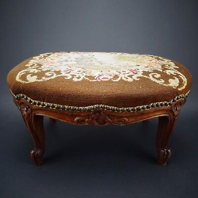 Antique Walnut Victorian Floral Needlepoint Tapestry Craved Oval Foot Stool