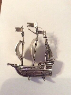 Vintage sterling silver miniature heavy movable sails ship