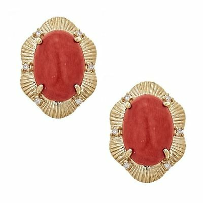 GE330 6mm Coral Ball Stud Earrings 14K Yellow Gold