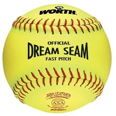 (1-Ball) ASA 30cm Softball Worth Dream Seam Official Fastpitch Yellow Pro
