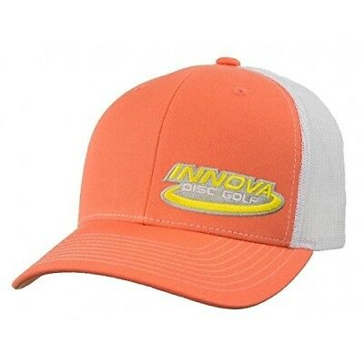 (Coral/White) - Innova Logo Adjustable Mesh Disc Golf Hat. Shipping is Free