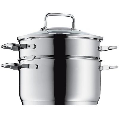 WMF Steamer  Ø 20 cm glass lid Cromargan stainless steel brushed suitable for