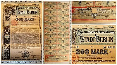 1919 German Bond Note Weimar Republic Uncancelled Coupons 200 Mark Berlin Money