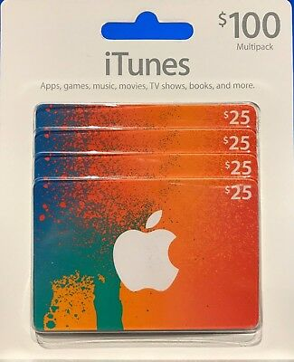 Apple iTunes Gift Cards 4 x $25 Gift Cards Physical Delivery via USPS
