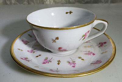 Vintage Small Porcelain Ceramic China Roses Cup & Saucer Gold Edge