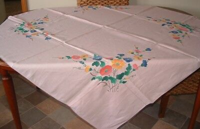 Vintage Pink Linen Applique Embroidered Tablecloth Hand Made