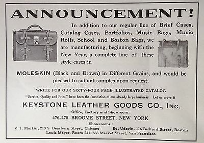 1921 Ad(F29)~Keystone Leather Goods Co. Broome St. Nyc. Brief Cases, Portfolios