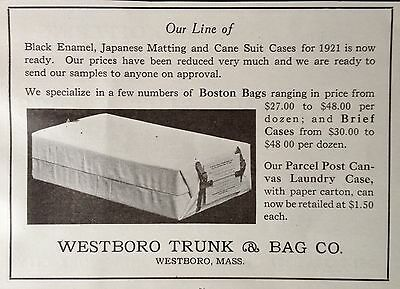 1921 Ad(F29)~Westboro Trunk & Bag Co. Westboro, Mass. Canvas Laundry Case