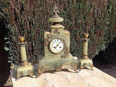 French 19th century Onyx Mantel Clock Mantle Antique Candle Holders Collectable