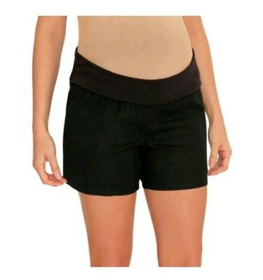 Great Expectations Maternity Black Woven Linen Shorts Panel Size Small 4-6 S