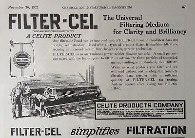 1921 Ad(G15)~Celite Products Co.nyc. Filter-Cel Filtering Medium