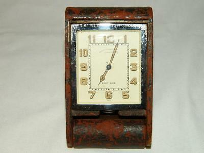 VINTAGE JAEGER LeCOULTRE LEATHER CASE 8 DAY TRAVEL - DESK CLOCK RUNNING