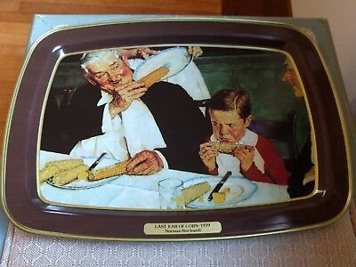 Vintage Norman Rockwell Last Ear Of Corn Metal Tin TV Tray