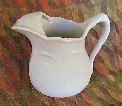 Large 19th C White English Ironstone Water Pitcher w/ Ice Lip Wheat Design 11""