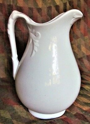 "19th C. Large 12"" White English Ironstone Pitcher with Decorative Pattern"