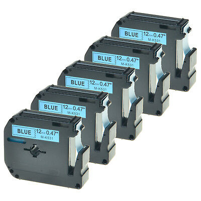 5 Pack MK531 M-K531 M531 12mm Black on Blue Lable Tape For Brother P-touch 65VP