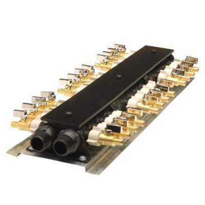 24 Port PEX Manifold, brass shut off valves equal number of hot and cold outlets