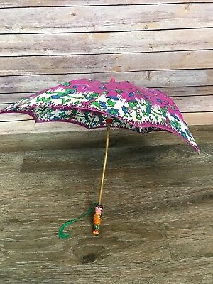 Vintage Child's Parasol Umbrella Wooden Handle Chinese Prop