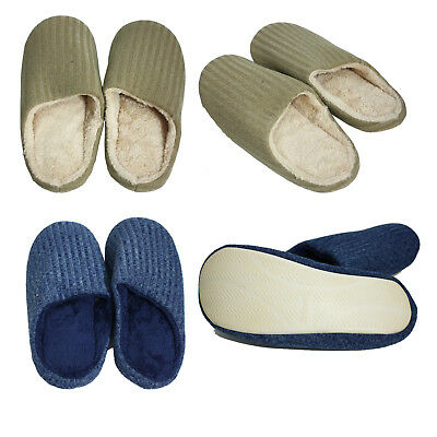 Mens Slip On House Room Knit Fur Scuff Fleece Non-Slip Indoor Slippers Shoes