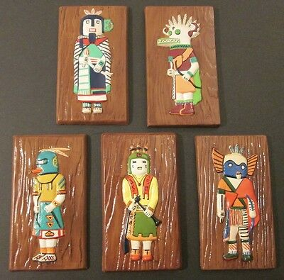 """FIVE (5) PLASTER KACHINA DOLL WALL PLAQUES ~ Signed """"DEB"""" ~ Bought on Route 66"""