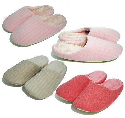 Womens Slip On House Room Knit Fur Scuff Fleece Non-Slip Indoor Slippers Shoes