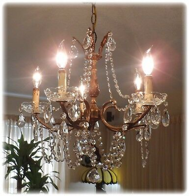 Vintage  Shabby  Brass Italian Petite Chandelier With Prisms