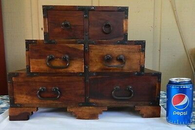 Vng Asian Wood & Iron Hardware 6 Drawer Sewing Trinket Jewelry TANSU Box