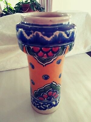 Vintage Colorful Pottery Tall Vase~ Mexican~ Uriarte Talavera