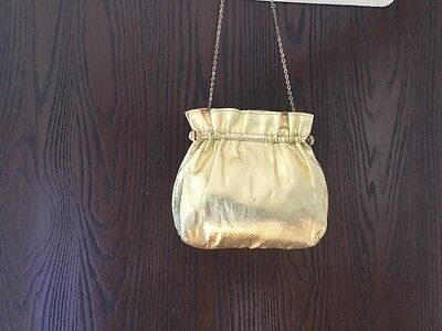 Vintage Gold Lame' Evening Bag, chain strap, 6x8 size, A frame style 1970s bag