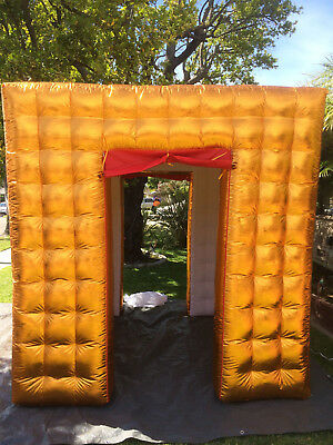 Inflatable Gold Cube Photo Booth LED Lights Portable Photobooth 2 Doors USA F/S