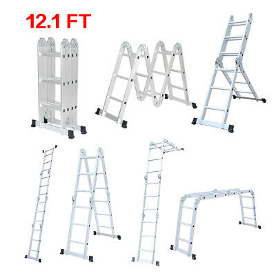 12.1FT Multi Purpose Aluminum Folding Extendable Step Ladder Scaffold Heavy Duty