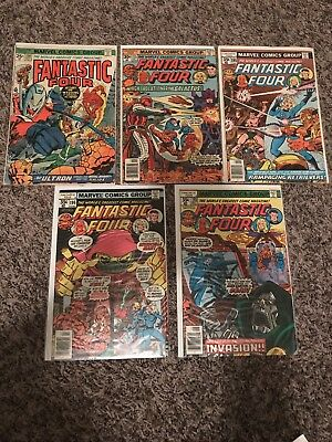 Lot of (5) 1970's The Fantastic Four Comic #150,175,195,196,198